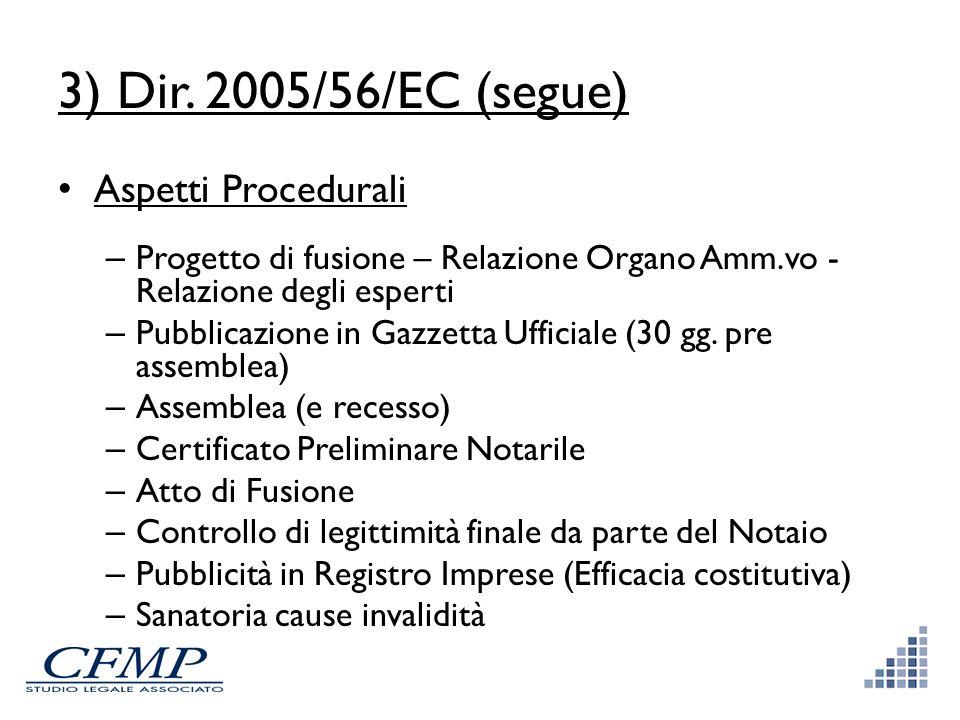 3) Dir. 2005/56/EC (segue) Aspetti Procedurali – Progetto di fusione – Relazione Organo Amm.vo - Relazione degli esperti – Pubblicazione in Gazzetta U