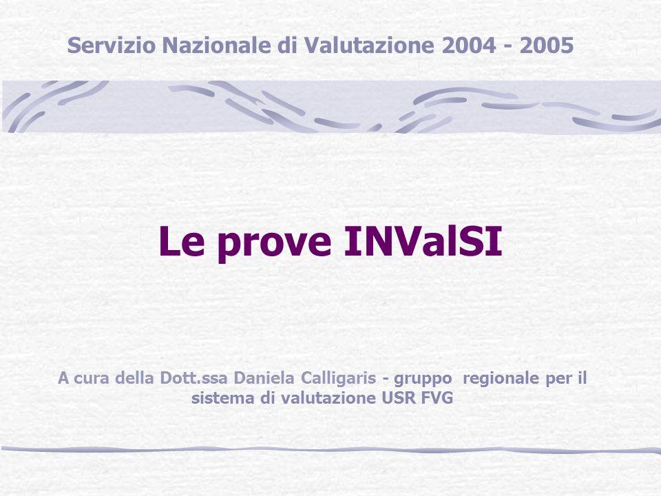 Le prove INValSI A cura della Dott.ssa Daniela Calligaris - gruppo regionale per il sistema di valutazione USR FVG Servizio Nazionale di Valutazione 2