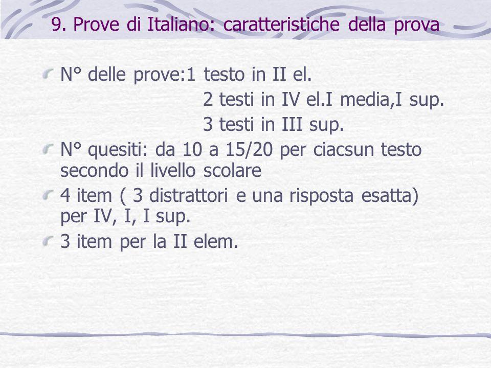 9. Prove di Italiano: caratteristiche della prova N° delle prove:1 testo in II el. 2 testi in IV el.I media,I sup. 3 testi in III sup. N° quesiti: da