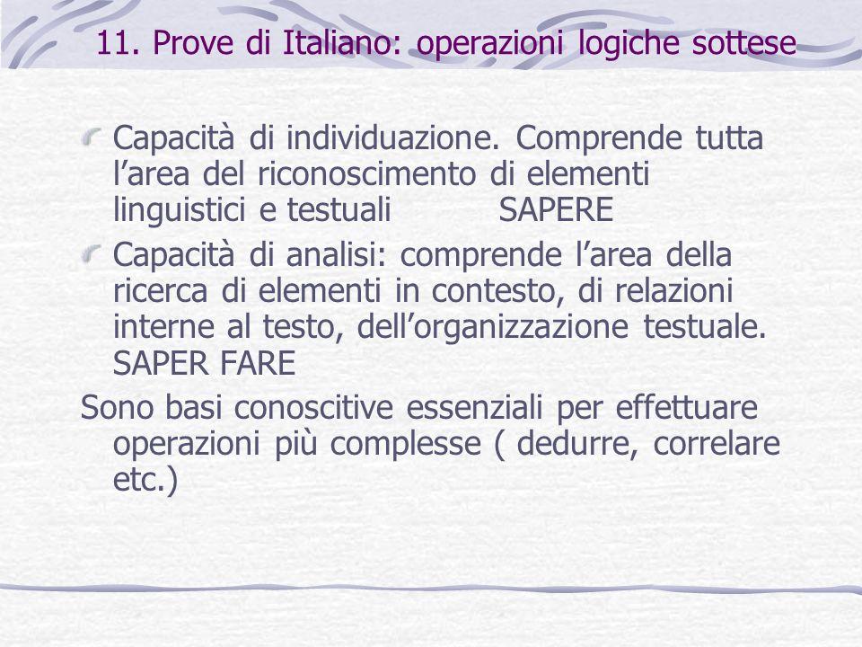 11. Prove di Italiano: operazioni logiche sottese Capacità di individuazione. Comprende tutta larea del riconoscimento di elementi linguistici e testu