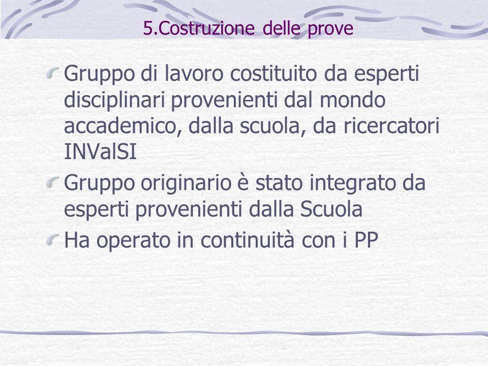 5.Costruzione delle prove Gruppo di lavoro costituito da esperti disciplinari provenienti dal mondo accademico, dalla scuola, da ricercatori INValSI G