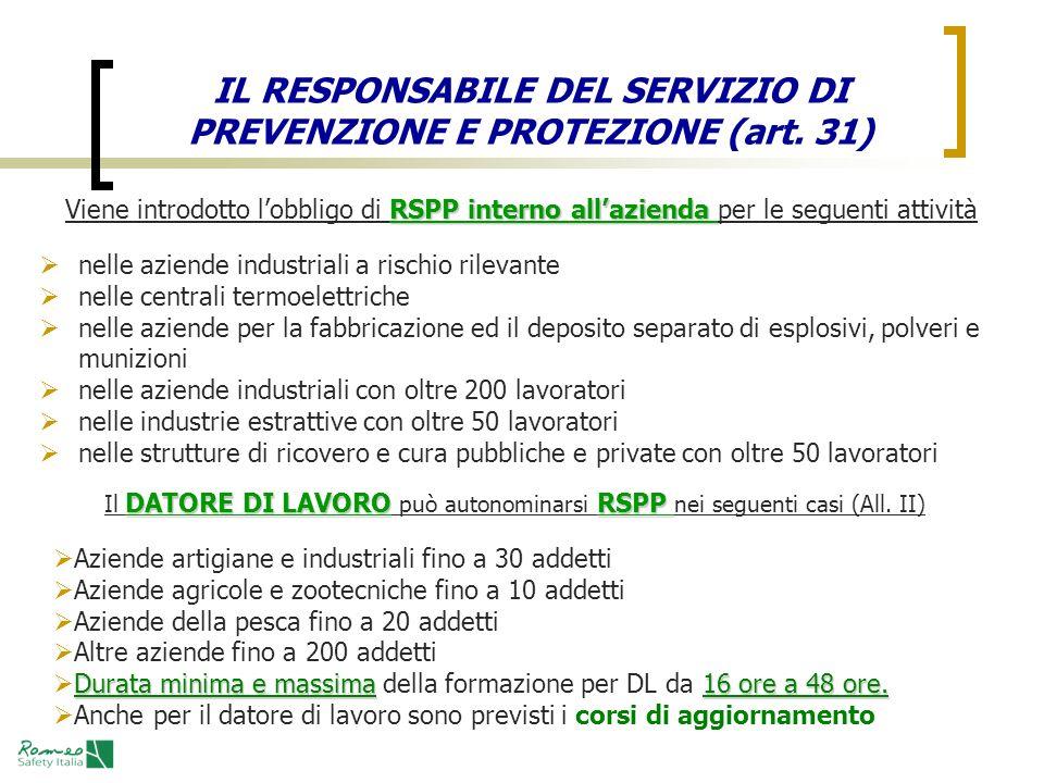 IL RESPONSABILE DEL SERVIZIO DI PREVENZIONE E PROTEZIONE (art. 31) RSPP interno allazienda Viene introdotto lobbligo di RSPP interno allazienda per le
