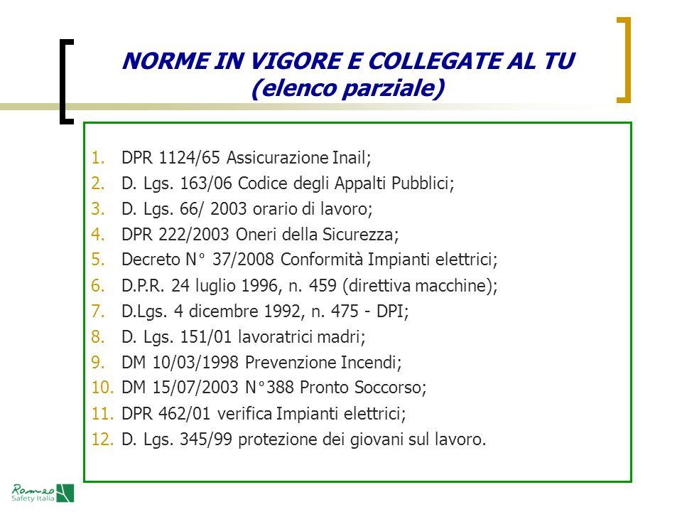 NORME IN VIGORE E COLLEGATE AL TU (elenco parziale) 1. DPR 1124/65 Assicurazione Inail; 2. D. Lgs. 163/06 Codice degli Appalti Pubblici; 3. D. Lgs. 66