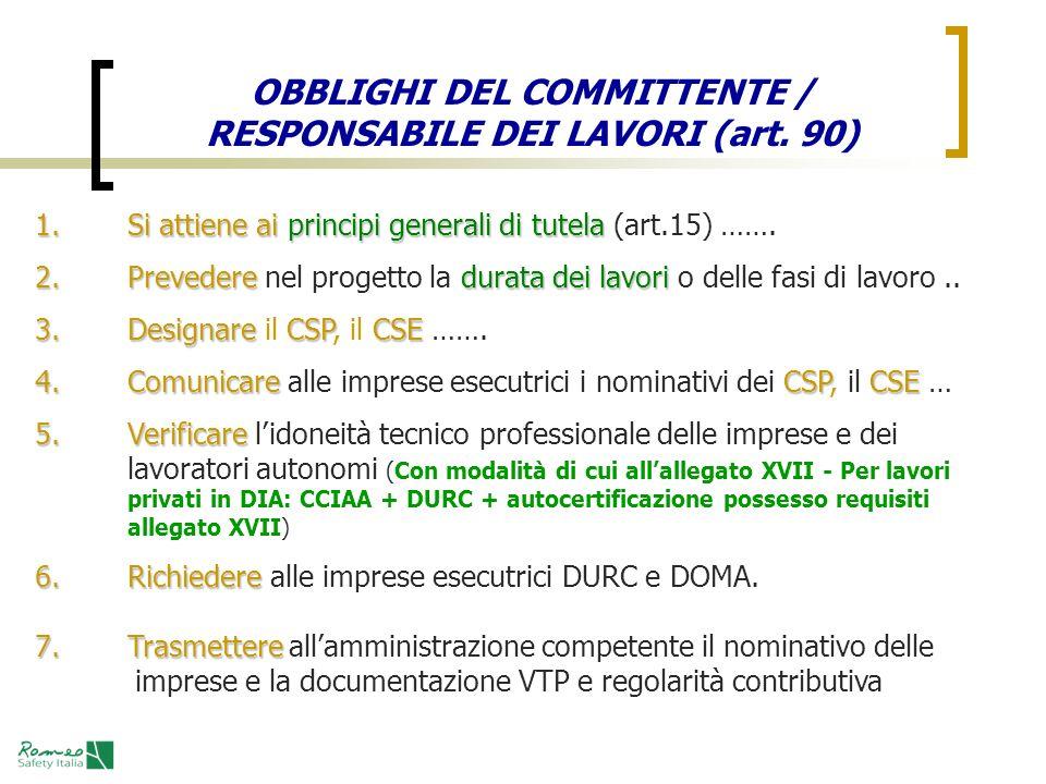 OBBLIGHI DEL COMMITTENTE / RESPONSABILE DEI LAVORI (art. 90) 1.Si attiene aiprincipi generali di tutela 1.Si attiene ai principi generali di tutela (a