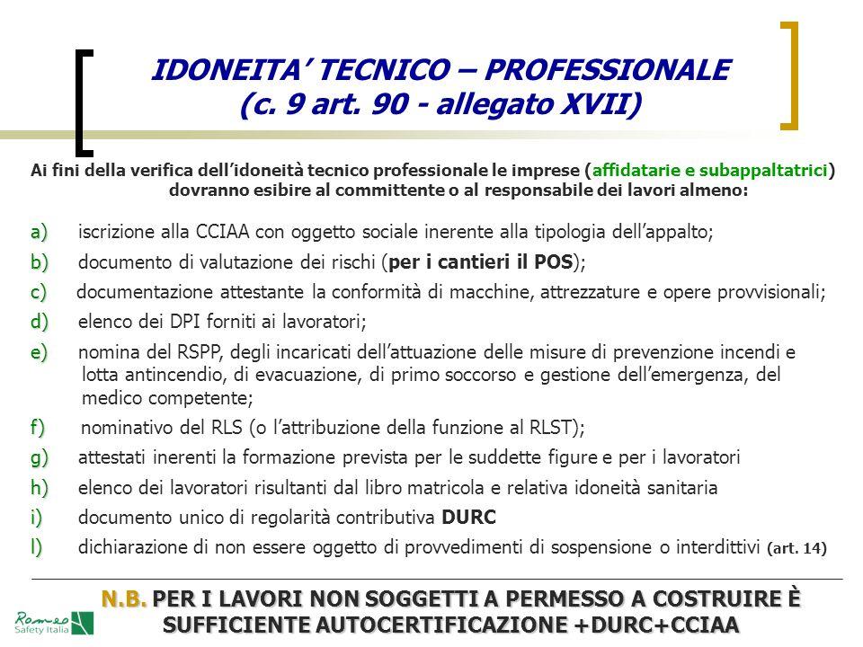 IDONEITA TECNICO – PROFESSIONALE (c. 9 art. 90 - allegato XVII) Ai fini della verifica dellidoneità tecnico professionale le imprese (affidatarie e su