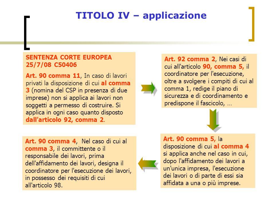 SENTENZA CORTE EUROPEA 25/7/08 C50406 Art. 90 comma 11, In caso di lavori privati la disposizione di cui al comma 3 (nomina del CSP in presenza di due