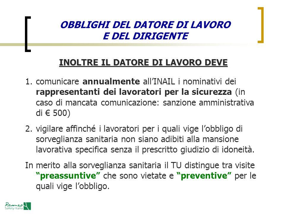 INOLTRE IL DATORE DI LAVORO DEVE 1.comunicare annualmente allINAIL i nominativi dei rappresentanti dei lavoratori per la sicurezza (in caso di mancata