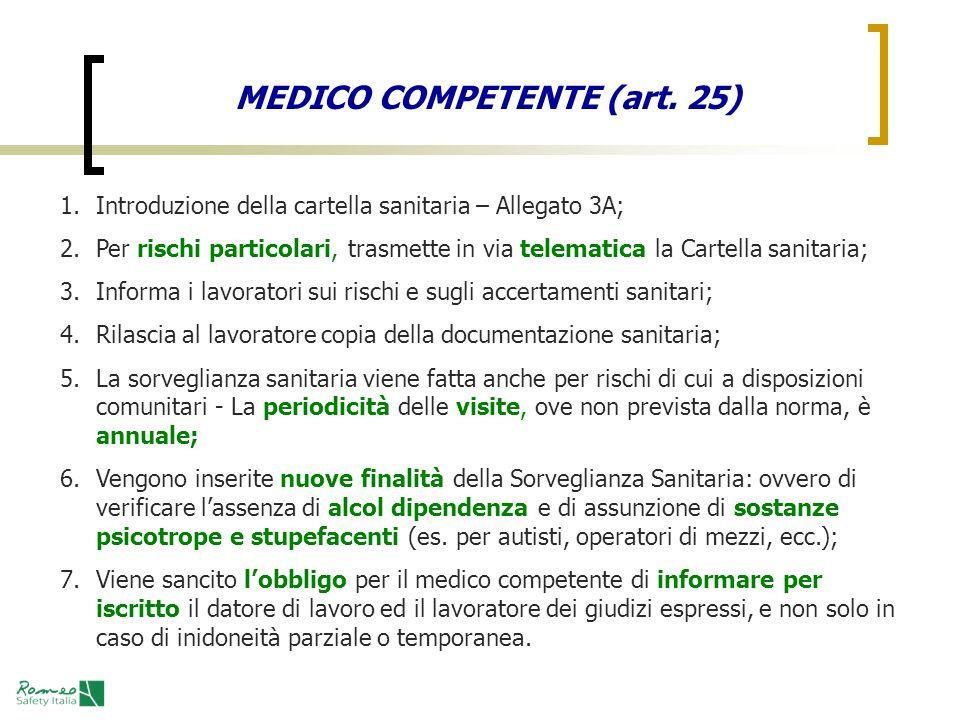 MEDICO COMPETENTE (art. 25) 1.Introduzione della cartella sanitaria – Allegato 3A; 2.Per rischi particolari, trasmette in via telematica la Cartella s