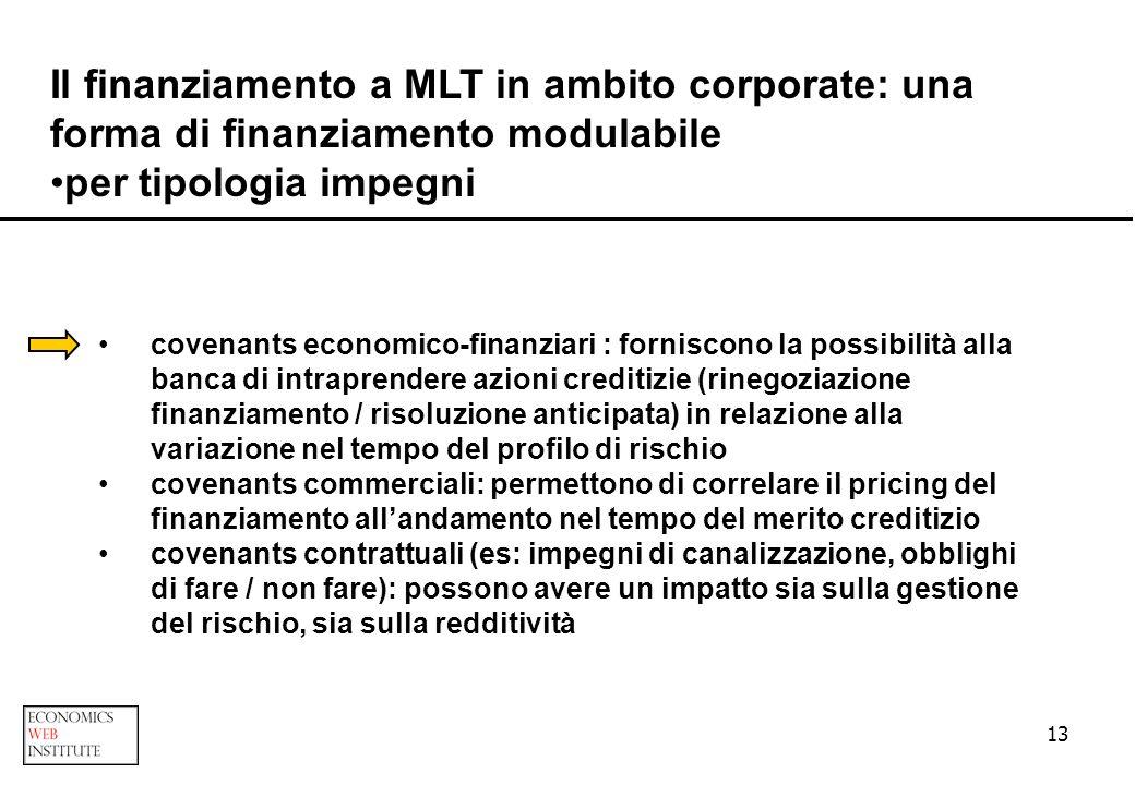 13 Il finanziamento a MLT in ambito corporate: una forma di finanziamento modulabile per tipologia impegni covenants economico-finanziari : forniscono