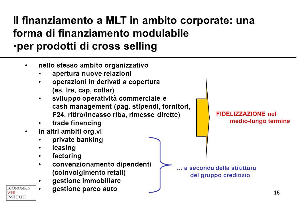 16 Il finanziamento a MLT in ambito corporate: una forma di finanziamento modulabile per prodotti di cross selling nello stesso ambito organizzativo a