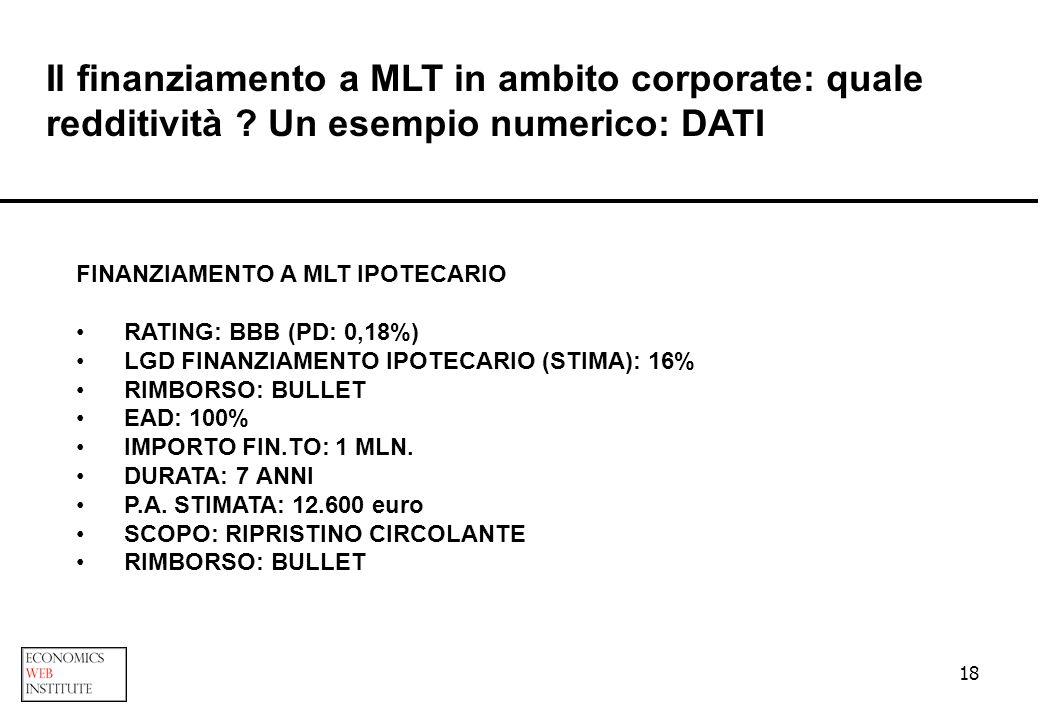 18 Il finanziamento a MLT in ambito corporate: quale redditività ? Un esempio numerico: DATI FINANZIAMENTO A MLT IPOTECARIO RATING: BBB (PD: 0,18%) LG
