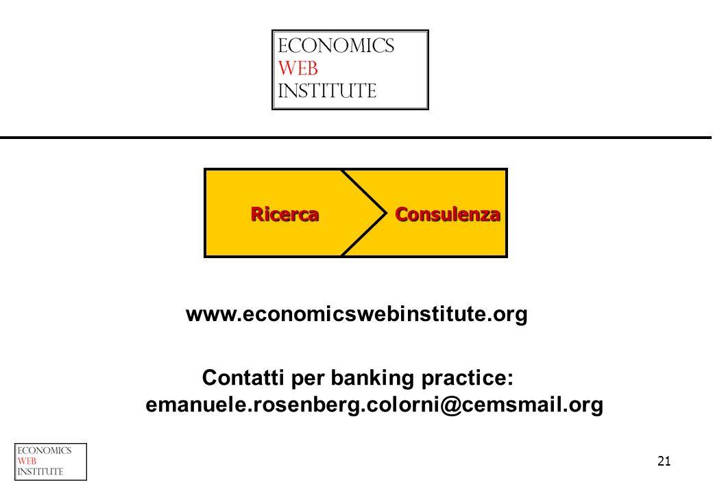21 ConsulenzaRicerca www.economicswebinstitute.org Contatti per banking practice: emanuele.rosenberg.colorni@cemsmail.org
