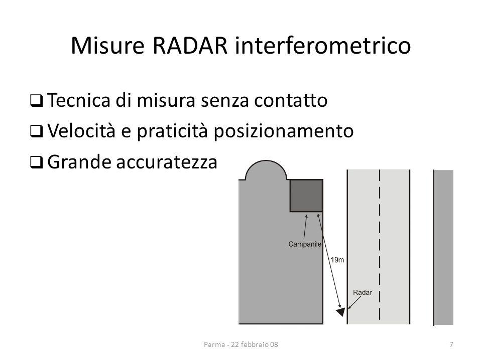 Misure RADAR interferometrico Tecnica di misura senza contatto Velocità e praticità posizionamento Grande accuratezza Parma - 22 febbraio 087