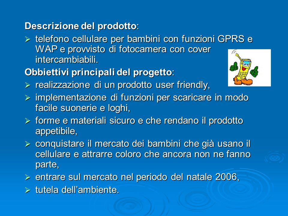 Descrizione del prodotto: telefono cellulare per bambini con funzioni GPRS e WAP e provvisto di fotocamera con cover intercambiabili. telefono cellula