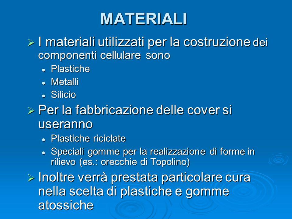 MATERIALI I materiali utilizzati per la costruzione dei componenti cellulare sono I materiali utilizzati per la costruzione dei componenti cellulare s