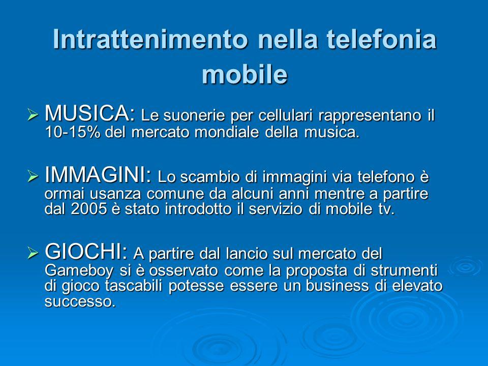 Intrattenimento nella telefonia mobile MUSICA: Le suonerie per cellulari rappresentano il 10-15% del mercato mondiale della musica. MUSICA: Le suoneri