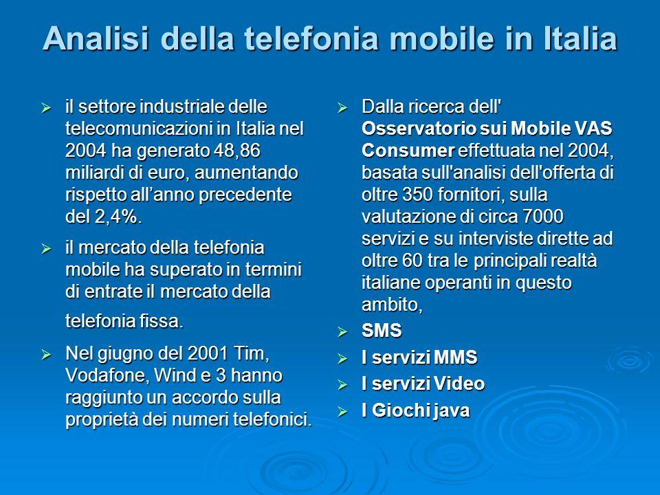 Analisi della telefonia mobile in Italia il settore industriale delle telecomunicazioni in Italia nel 2004 ha generato 48,86 miliardi di euro, aumenta