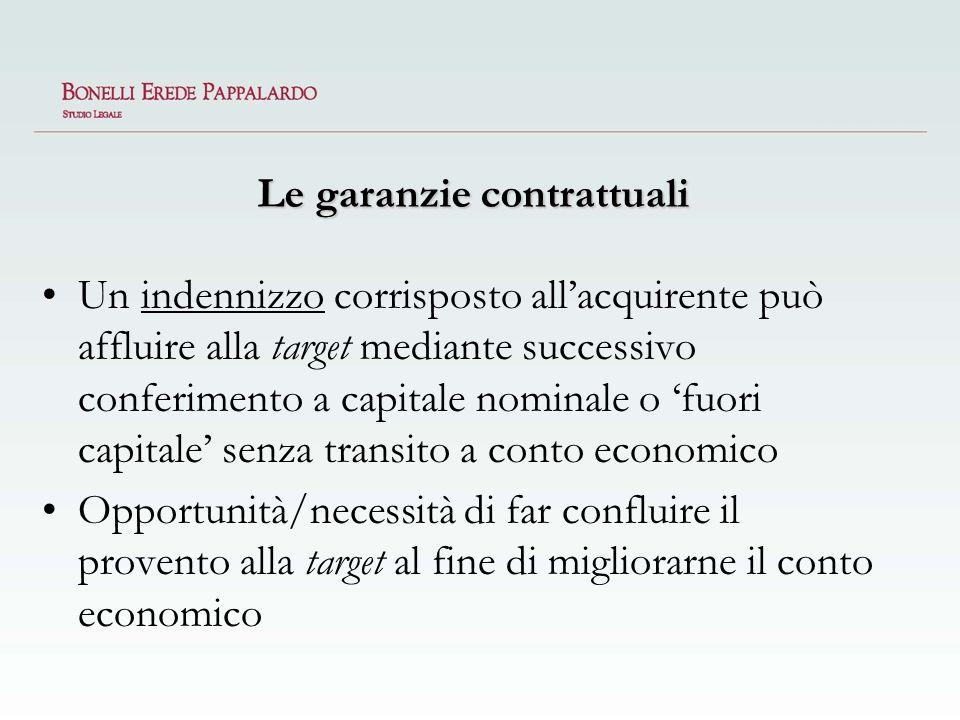 Le garanzie contrattuali Un indennizzo corrisposto allacquirente può affluire alla target mediante successivo conferimento a capitale nominale o fuori