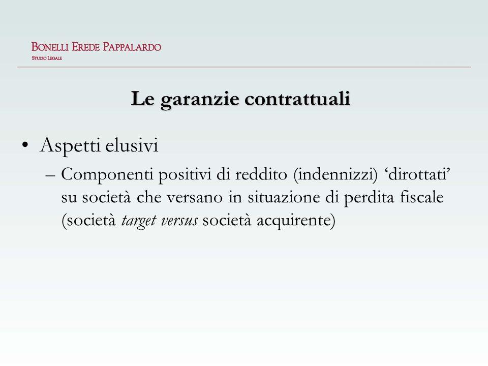 Le garanzie contrattuali Aspetti elusivi –Componenti positivi di reddito (indennizzi) dirottati su società che versano in situazione di perdita fiscal