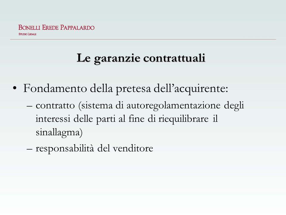 Le garanzie contrattuali Fondamento della pretesa dellacquirente: –contratto (sistema di autoregolamentazione degli interessi delle parti al fine di r