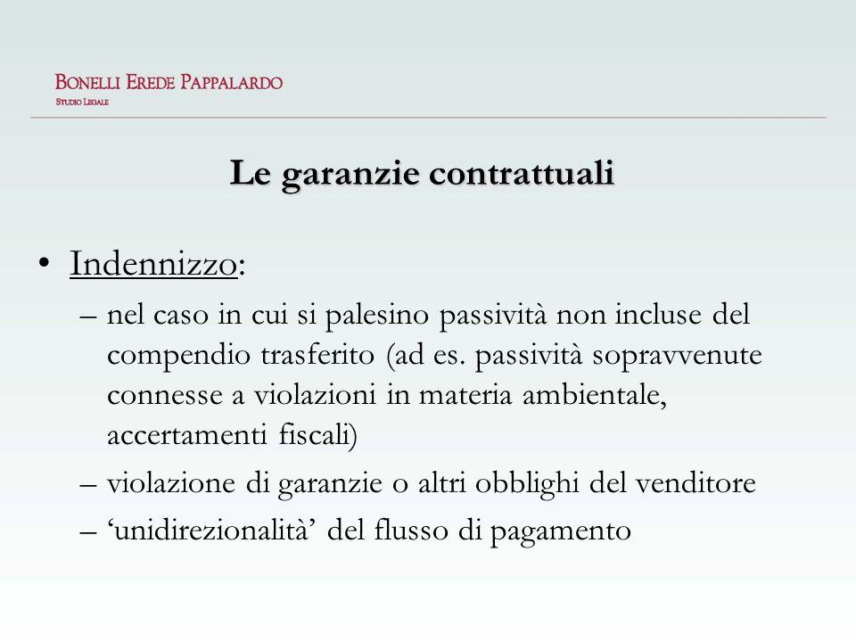 Le garanzie contrattuali Indennizzo: –nel caso in cui si palesino passività non incluse del compendio trasferito (ad es. passività sopravvenute connes