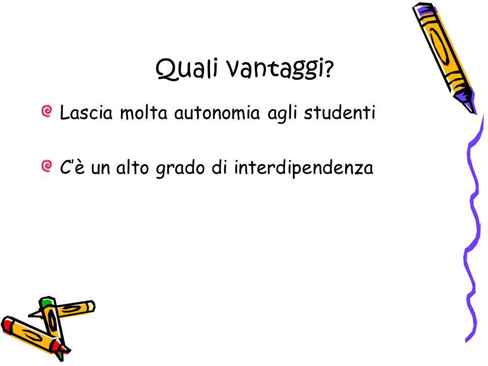 Quali vantaggi Lascia molta autonomia agli studenti Cè un alto grado di interdipendenza