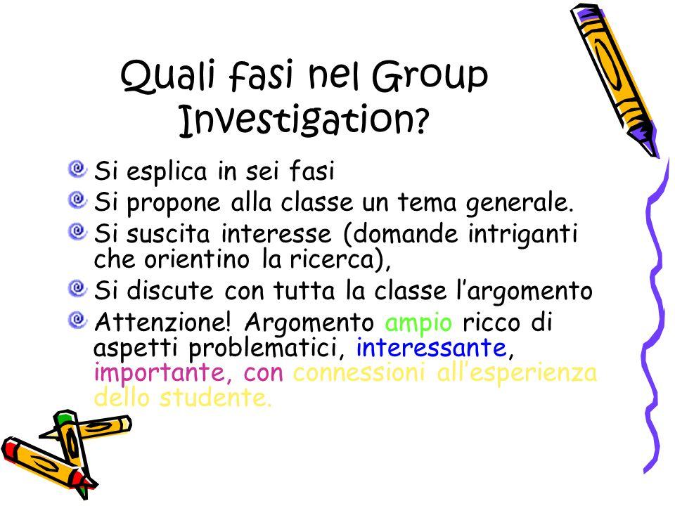 Quali fasi nel Group Investigation. Si esplica in sei fasi Si propone alla classe un tema generale.