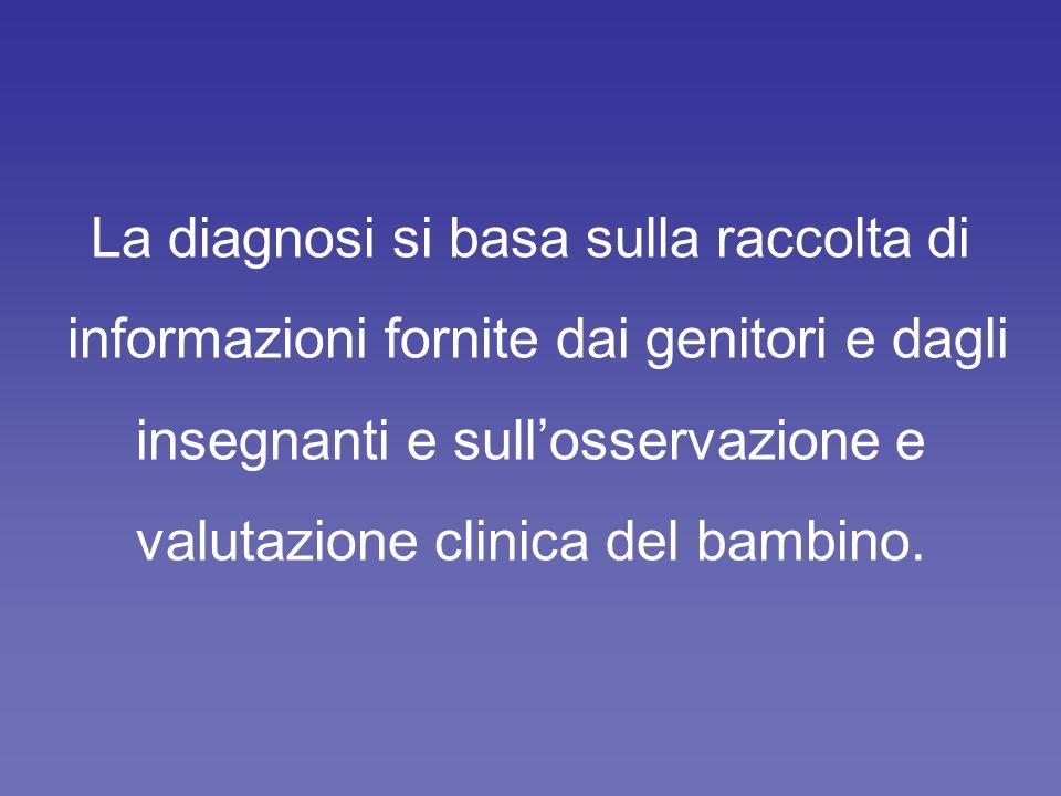 La diagnosi si basa sulla raccolta di informazioni fornite dai genitori e dagli insegnanti e sullosservazione e valutazione clinica del bambino.