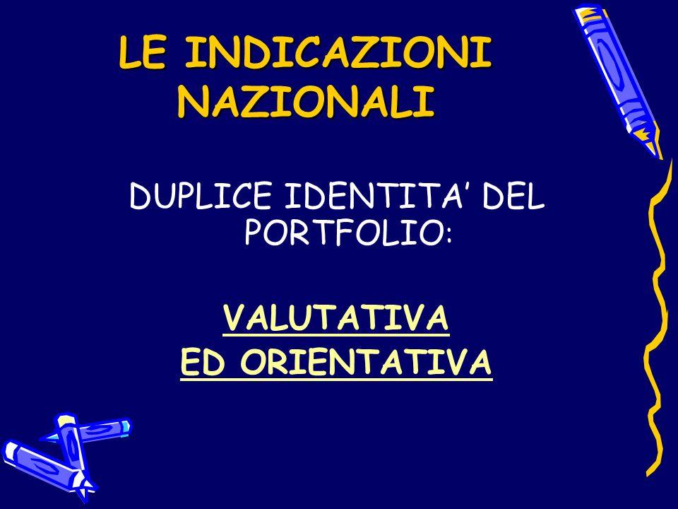 LE INDICAZIONI NAZIONALI DUPLICE IDENTITA DEL PORTFOLIO : VALUTATIVA ED ORIENTATIVA