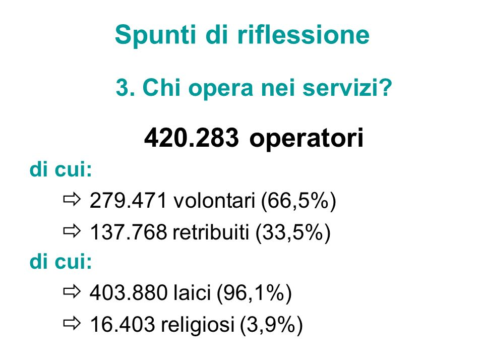 Spunti di riflessione 3. Chi opera nei servizi? 420.283 operatori di cui: 279.471 volontari (66,5%) 137.768 retribuiti (33,5%) di cui: 403.880 laici (