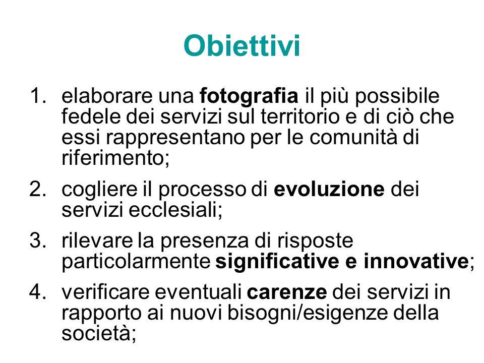 Obiettivi 1.elaborare una fotografia il più possibile fedele dei servizi sul territorio e di ciò che essi rappresentano per le comunità di riferimento
