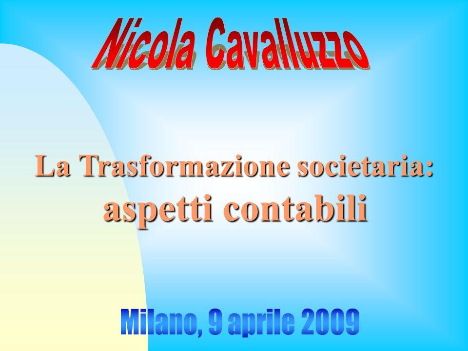 9 aprile 2009Nicola Cavalluzzo2 Disciplinacodicistica TrasformazioneomogeneaTrasformazioneeterogenea TrasformazioneprogressivaTrasformazioneregressiva