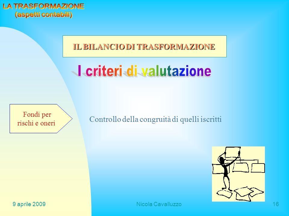 9 aprile 2009Nicola Cavalluzzo16 Fondi per rischi e oneri Controllo della congruità di quelli iscritti IL BILANCIO DI TRASFORMAZIONE
