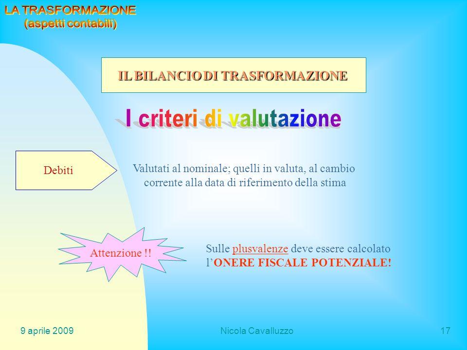 9 aprile 2009Nicola Cavalluzzo17 Debiti Valutati al nominale; quelli in valuta, al cambio corrente alla data di riferimento della stima Attenzione !!