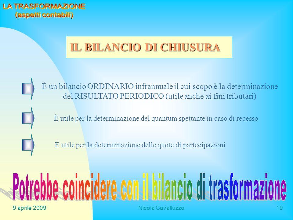 9 aprile 2009Nicola Cavalluzzo19 È un bilancio ORDINARIO infrannuale il cui scopo è la determinazione del RISULTATO PERIODICO (utile anche ai fini tri
