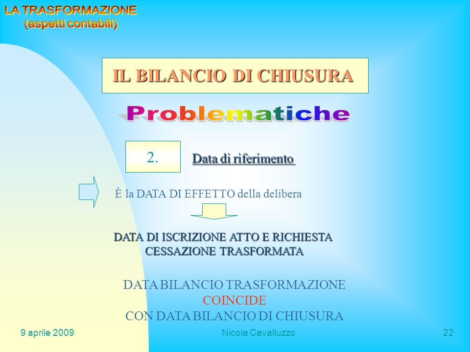 9 aprile 2009Nicola Cavalluzzo22 2. Data di riferimento È la DATA DI EFFETTO della delibera DATA DI ISCRIZIONE ATTO E RICHIESTA CESSAZIONE TRASFORMATA