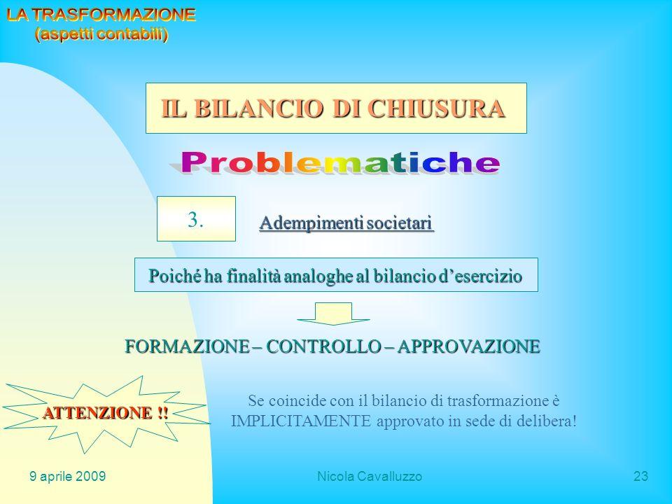 9 aprile 2009Nicola Cavalluzzo23 3. Adempimenti societari Poiché ha finalità analoghe al bilancio desercizio FORMAZIONE – CONTROLLO – APPROVAZIONE ATT