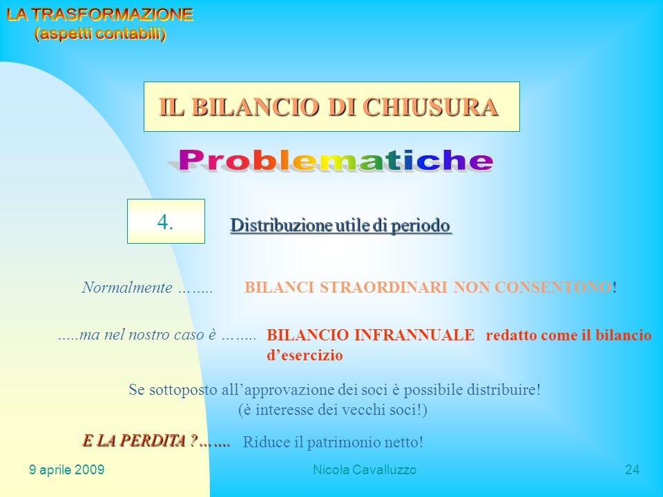9 aprile 2009Nicola Cavalluzzo24 4. Distribuzione utile di periodo Normalmente ……..BILANCI STRAORDINARI NON CONSENTONO! …..ma nel nostro caso è …….. B