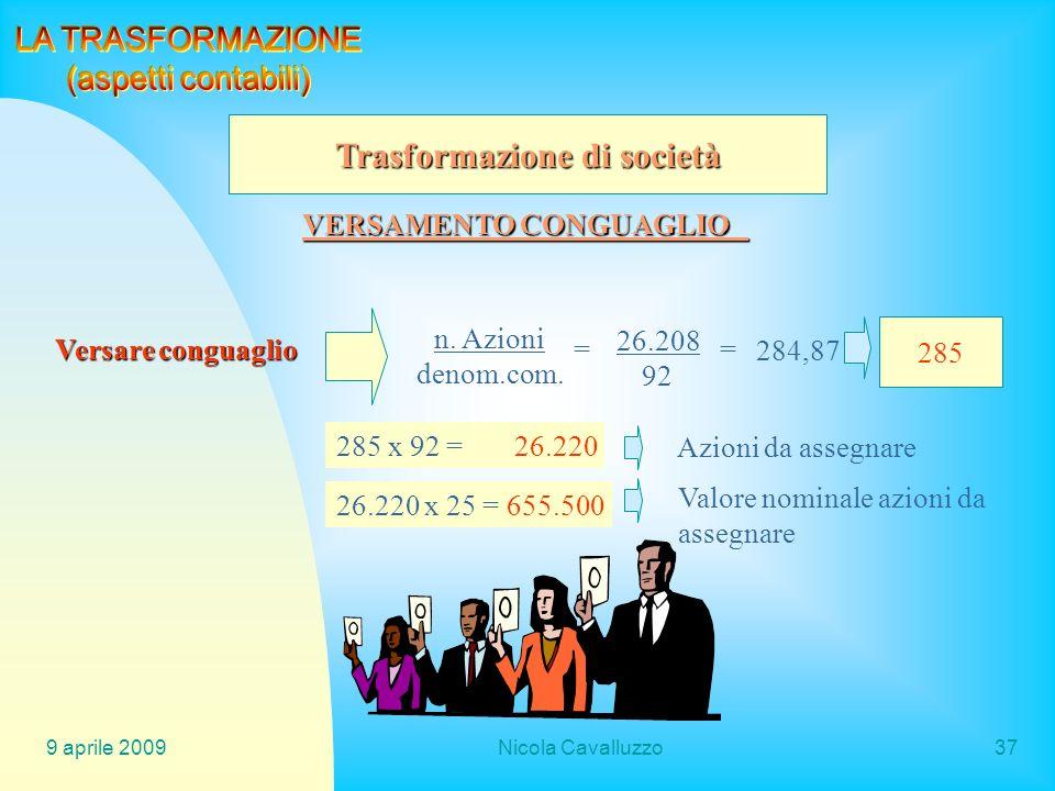 9 aprile 2009Nicola Cavalluzzo37 Trasformazione di società VERSAMENTO CONGUAGLIO Versare conguaglio n. Azioni denom.com. = 26.208 92 = 284,87 285 285
