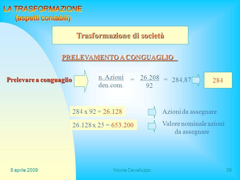 9 aprile 2009Nicola Cavalluzzo39 Trasformazione di società PRELEVAMENTO A CONGUAGLIO Prelevare a conguaglio n. Azioni den.com. = 26.208 92 = 284,87 28