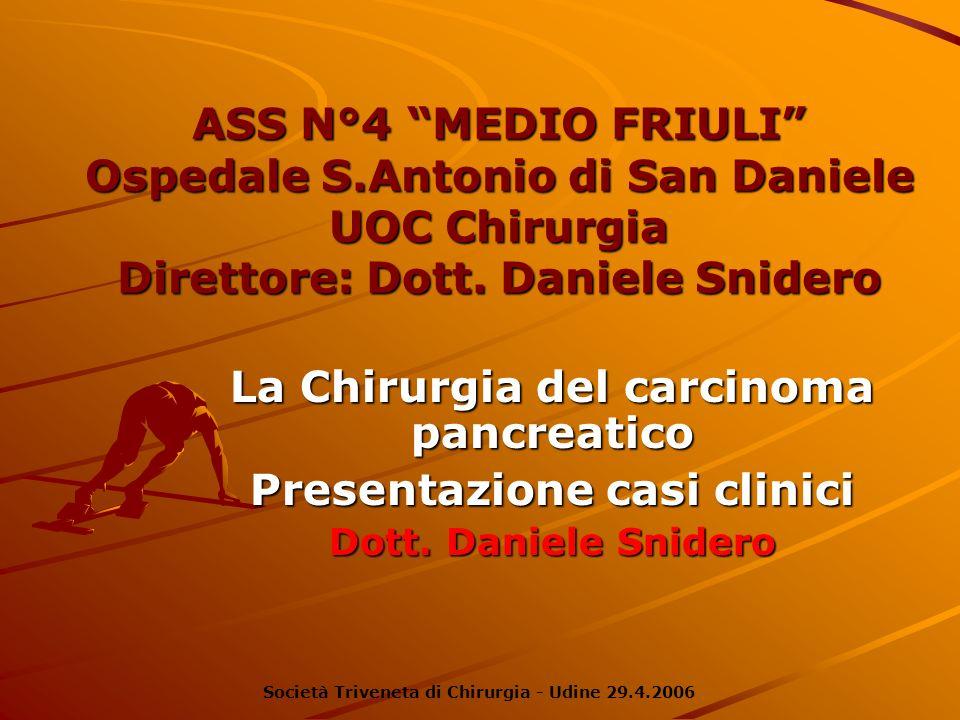 ASS N°4 MEDIO FRIULI Ospedale S.Antonio di San Daniele UOC Chirurgia Direttore: Dott. Daniele Snidero La Chirurgia del carcinoma pancreatico Presentaz