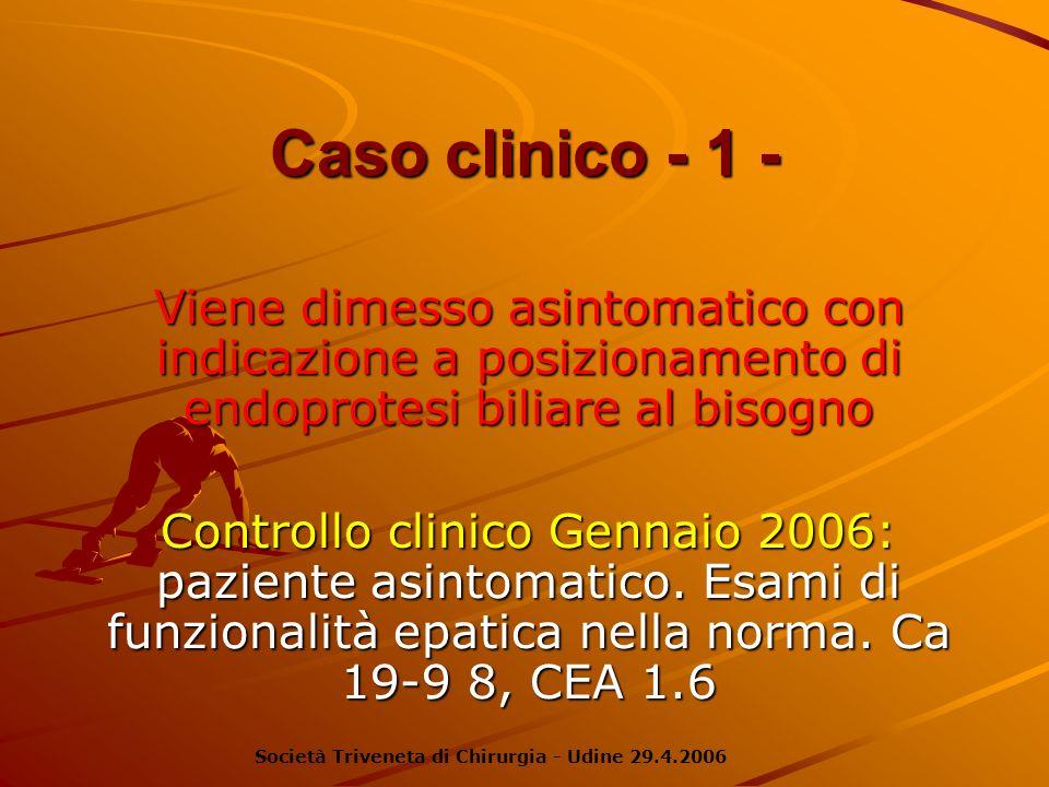 Caso clinico - 1 - Viene dimesso asintomatico con indicazione a posizionamento di endoprotesi biliare al bisogno Controllo clinico Gennaio 2006: pazie