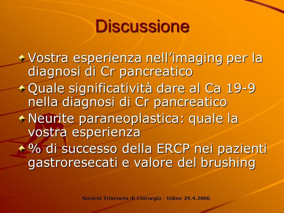 Discussione Vostra esperienza nellimaging per la diagnosi di Cr pancreatico Quale significatività dare al Ca 19-9 nella diagnosi di Cr pancreatico Neu