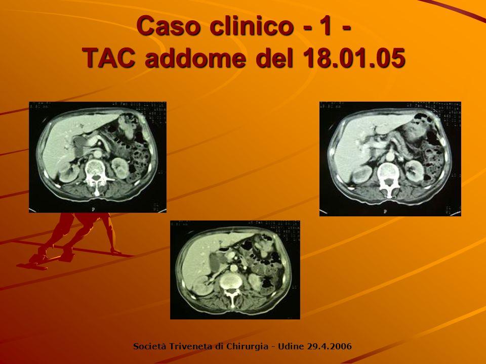 Caso clinico - 1 - Eco addome: …colecisti piuttosto distesa a pareti sottili con alcuni calcoli nel fondo.