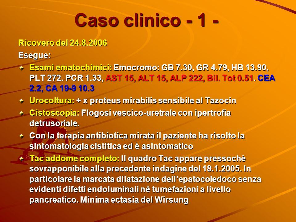 Caso clinico - 1 - Ricovero del 24.8.2006 Esegue: Esami ematochimici: Emocromo: GB 7.30, GR 4.79, HB 13.90, PLT 272. PCR 1.33, AST 15, ALT 15, ALP 222