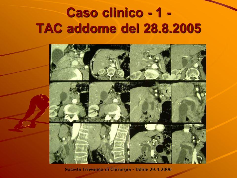 Caso clinico - 1 - TAC addome del 28.8.2005 Società Triveneta di Chirurgia - Udine 29.4.2006