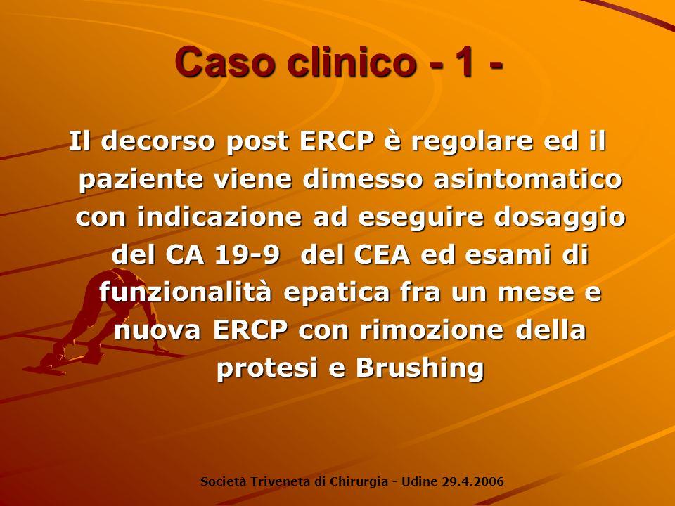 Caso clinico - 1 - Il decorso post ERCP è regolare ed il paziente viene dimesso asintomatico con indicazione ad eseguire dosaggio del CA 19-9 del CEA