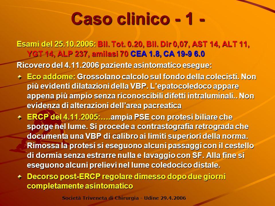 Caso clinico - 1 - Esami del 25.10.2006: Bil. Tot. 0.20, Bil. Dir 0,07, AST 14, ALT 11, YGT 14, ALP 237, amilasi 70 CEA 1.8, CA 19-9 6.0 Ricovero del