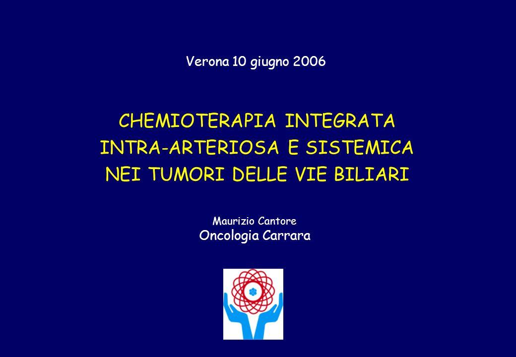 CHEMIOTERAPIA INTEGRATA INTRA-ARTERIOSA E SISTEMICA NEI TUMORI DELLE VIE BILIARI Maurizio Cantore Oncologia Carrara Verona 10 giugno 2006
