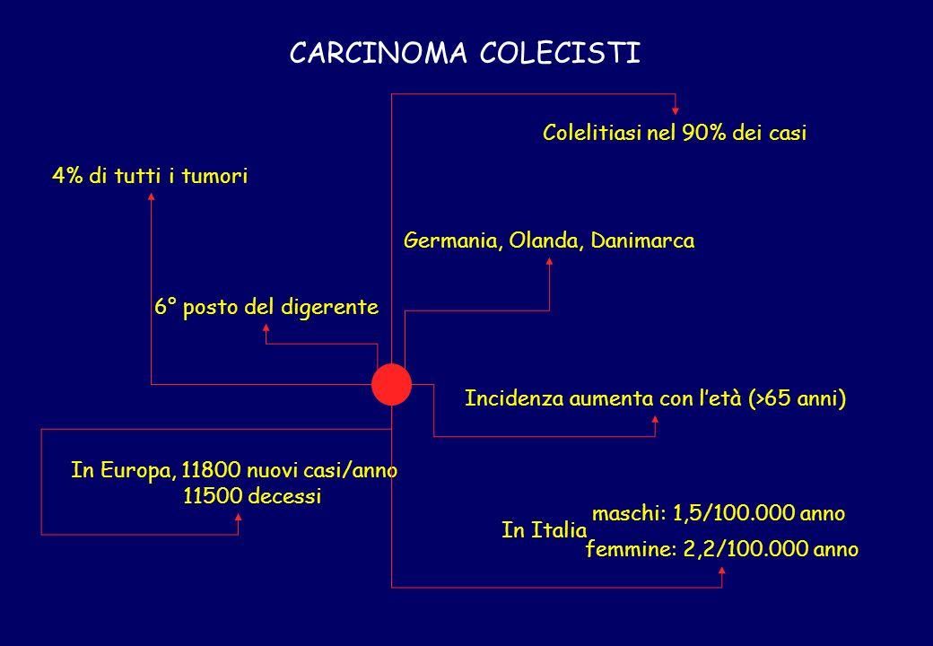 CARCINOMA COLECISTI 4% di tutti i tumori In Europa, 11800 nuovi casi/anno 11500 decessi Germania, Olanda, Danimarca Incidenza aumenta con letà (>65 an